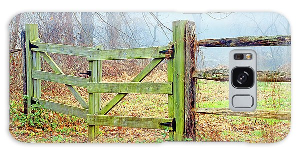 Wooden Fence On A Foggy Morning Galaxy Case