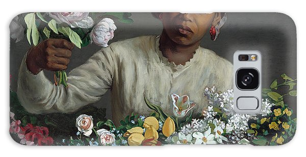Young Woman With Peonies Galaxy Case