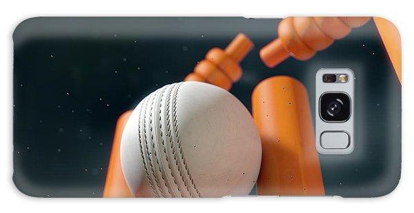 Cricket Ball Hitting Wickets Galaxy Case