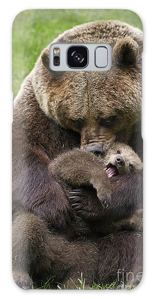 Mother Bear Cuddling Cub Galaxy Case