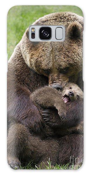 Mother Bear Cuddling Cub Galaxy Case