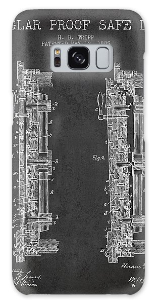 Safe Galaxy Case - 1885 Bank Safe Door Patent - Charcoal by Aged Pixel