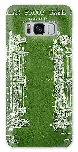 Safe Galaxy Case - 1885 Bank Safe Door Patent - Green by Aged Pixel