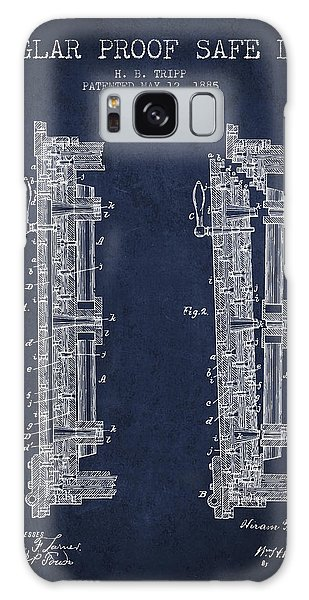 Safe Galaxy Case - 1885 Bank Safe Door Patent - Navy Blue by Aged Pixel