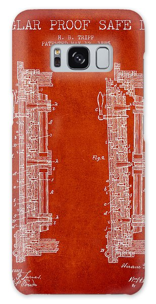 Safe Galaxy Case - 1885 Bank Safe Door Patent - Red by Aged Pixel