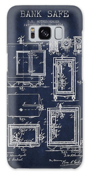 Safe Galaxy Case - 1894 Bank Safe Patent - Navy Blue by Aged Pixel