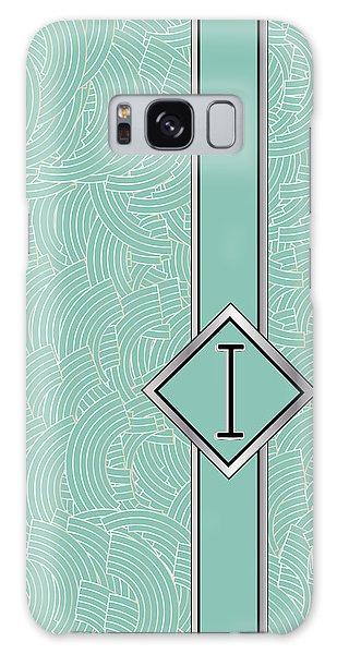 1920s Blue Deco Jazz Swing Monogram ...letter I Galaxy Case