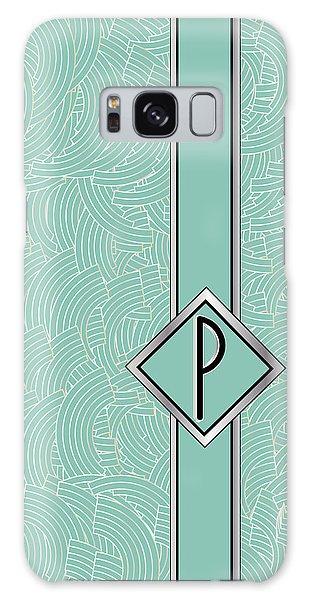 1920s Blue Deco Jazz Swing Monogram ...letter P Galaxy Case