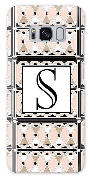 1920s Pink Champagne Deco Monogram  S Galaxy Case