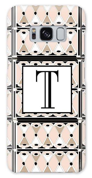 1920s Pink Champagne Deco Monogram  T Galaxy Case