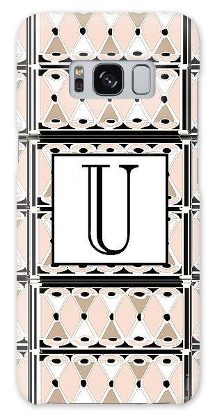 1920s Pink Champagne Deco Monogram  U Galaxy Case
