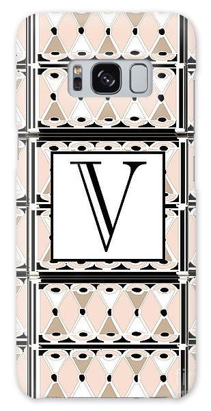 1920s Pink Champagne Deco Monogram  V Galaxy Case