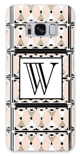 1920s Pink Champagne Deco Monogram  W Galaxy Case