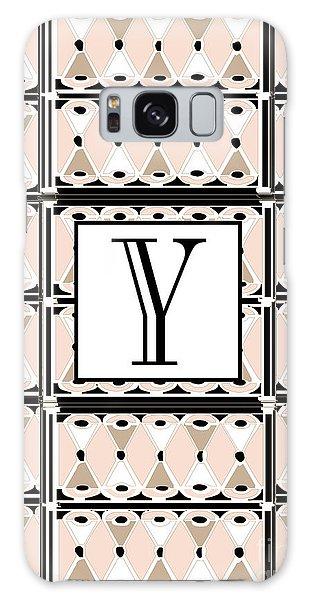 1920s Pink Champagne Deco  Monogram  Y Galaxy Case