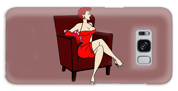 1950s Cartoon Pinup Girl Galaxy Case