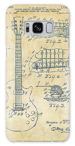 1955 Mccarty Gibson Les Paul Guitar Patent Artwork Vintage Galaxy Case by Nikki Marie Smith