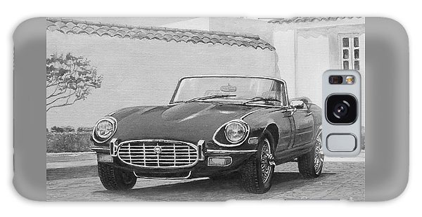 1961 Jaguar Xke Cabriolet In Black And White Galaxy Case