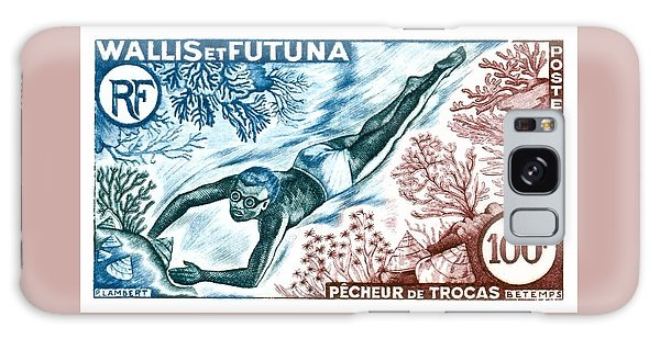 Reef Diving Galaxy Case - 1962 Wallis And Futuna Shell Fisherman Postage Stamp by Retro Graphics