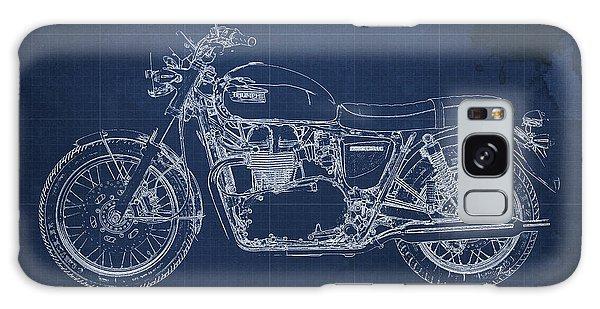 Blueprint Galaxy Case - 1969 Triumph Bonneville Blueprint Blue Background by Drawspots Illustrations