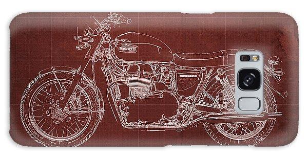Blueprint Galaxy Case - 1969 Triumph Bonneville Blueprint Red Background by Drawspots Illustrations