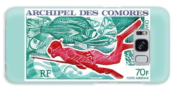 Reef Diving Galaxy Case - 1972 Comoro Islands Spearfishing Postage Stamp by Retro Graphics