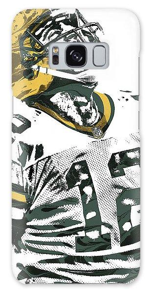 Aaron Rodgers Green Bay Packers Pixel Art 4 Galaxy Case by Joe Hamilton