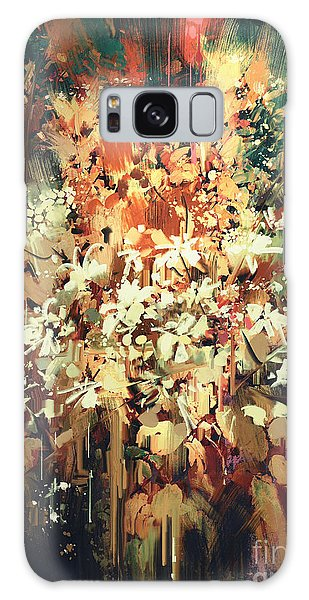 Galaxy Case featuring the painting Abstract Flowers by Tithi Luadthong