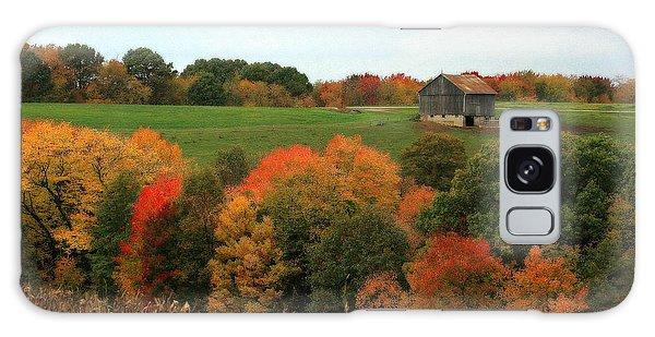 Barn On Autumn Hillside Galaxy Case by Angela Rath
