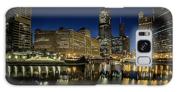 Chicago River And Skyline At Dawn Galaxy Case