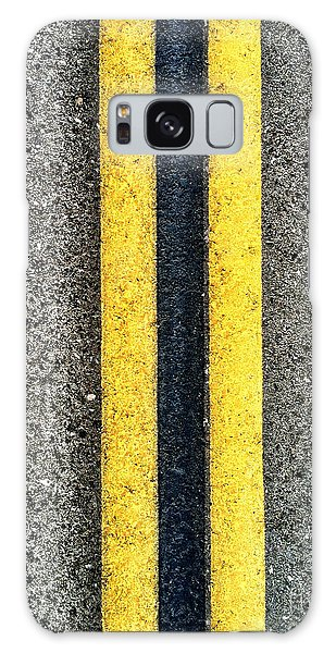 Double Yellow Road Lines Galaxy Case