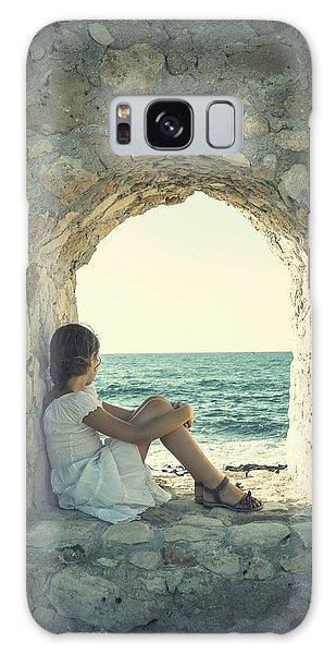 Stone Wall Galaxy Case - Girl At The Sea by Joana Kruse