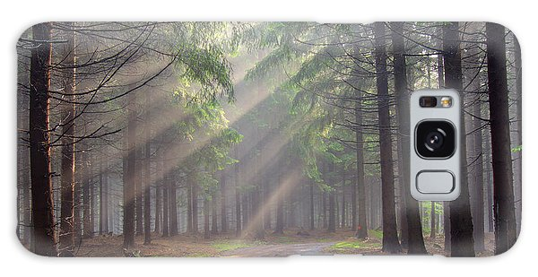 God Beams - Coniferous Forest In Fog Galaxy Case by Michal Boubin