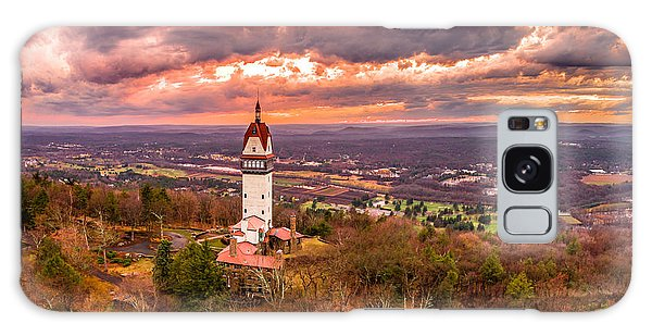 Heublein Tower, Simsbury Connecticut, Cloudy Sunset Galaxy Case