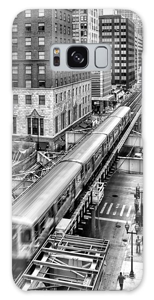 Historic Chicago El Train Black And White Galaxy Case