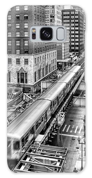 Historic Chicago El Train Black And White Galaxy Case