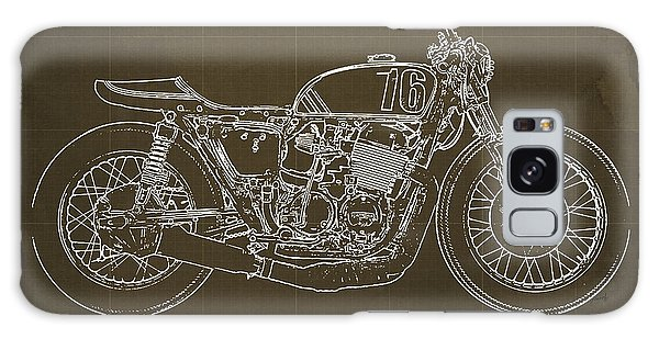 Blueprint Galaxy Case - Honda Cb750 Cafe Racer Blueprint by Drawspots Illustrations