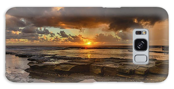 Overcast And Cloudy Sunrise Seascape Galaxy Case
