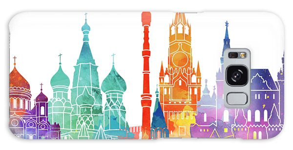 Moscow Skyline Galaxy S8 Case - Paris Landmarks Watercolor Poster by Pablo Romero