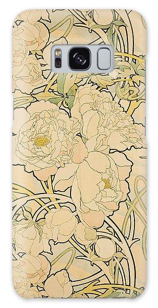 Flowers Galaxy S8 Case - Peonies by Alphonse Mucha