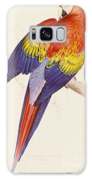 Red And Yellow Macaw Galaxy Case by Edward Lear