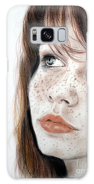 Red Hair And Freckled Beauty Galaxy Case by Jim Fitzpatrick