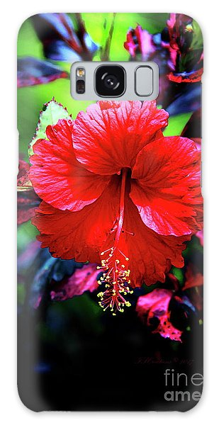 Red Hibiscus 2 Galaxy Case by Inspirational Photo Creations Audrey Woods
