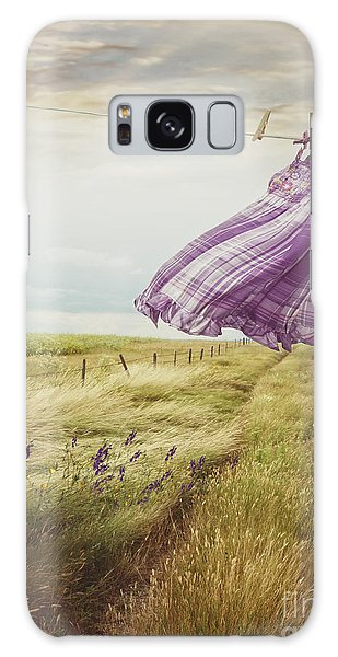 Galaxy Case featuring the photograph Summer Dress Blowing On Clothesline With Girl Walking Down Path by Sandra Cunningham