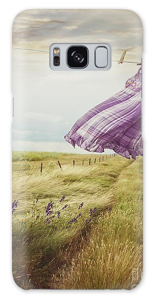 Summer Dress Blowing On Clothesline With Girl Walking Down Path Galaxy Case
