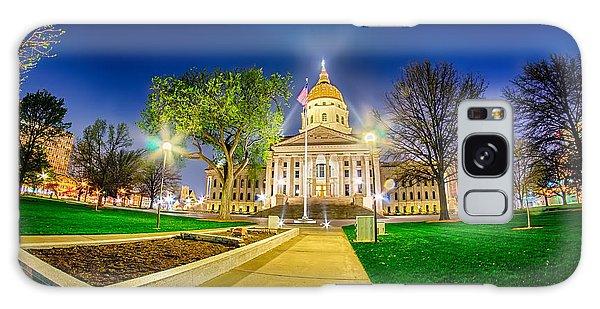 Topeka Kansas Downtown At Night Galaxy Case
