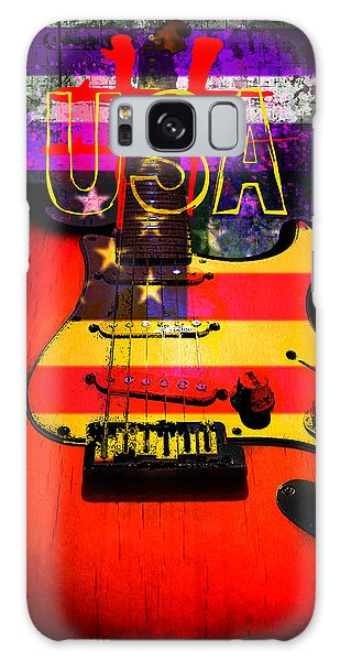 Galaxy Case featuring the photograph Red Usa Flag Guitar  by Guitar Wacky