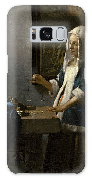 Jan Vermeer Galaxy Case - Woman Holding A Balance by Jan Vermeer