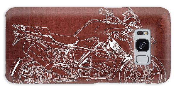 Blueprint Galaxy Case - 2016 Bmw R1200gs Blueprint Red Background by Drawspots Illustrations