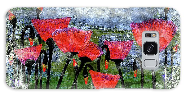 26a Abstract Floral Red Poppy Painting Galaxy Case