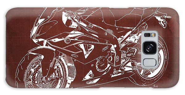 Blueprint Galaxy Case - Bmw Hp4 2013 Blueprint Motorcycle, White Line, Vintage Background by Drawspots Illustrations